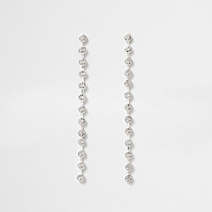 Silver tone cup chain drop earrings