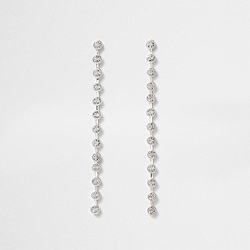 Silver tone cup chain drop earrings