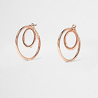 Rose gold double hoop earrings