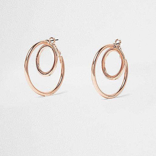 Rose gold double hoop earrings