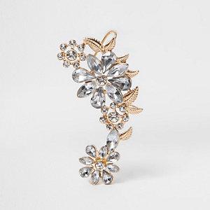 Gold tone rhinestone floral ear cuff