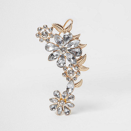Gold tone diamante floral ear cuff
