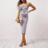 Light purple bow front bandeau bodycon dress