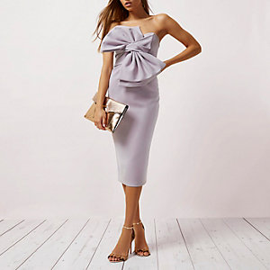 Light purple bow front bandeau bodycon dress