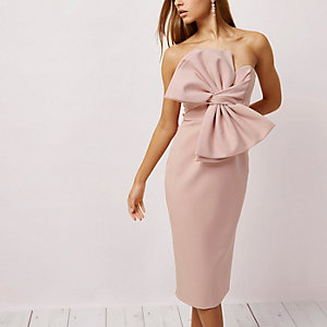 Light pink bow front bandeau bodycon dress