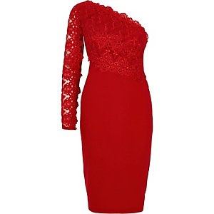 Dark red lace one shoulder bodycon dress