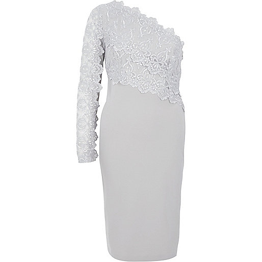 Grey lace one shoulder bodycon dress