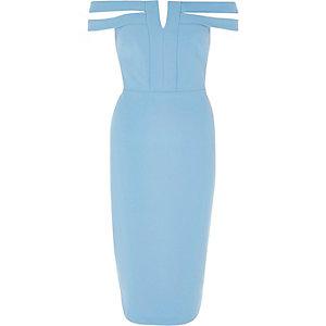 Robe moulante mi-longue bleue à encolure Bardot fendue