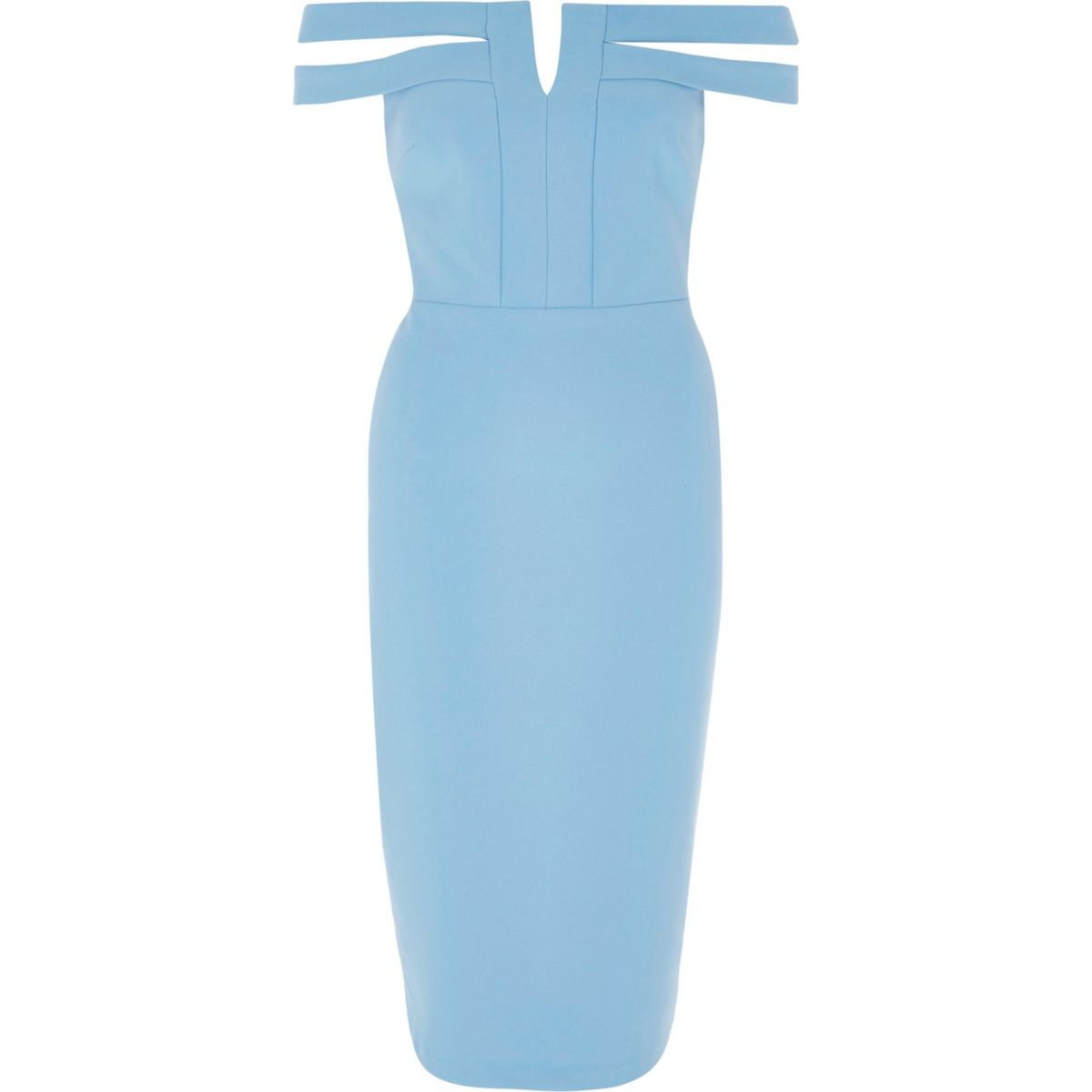 Blue split bardot neck bodycon midi dress