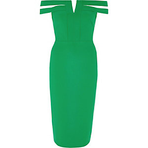 Green split bardot neck bodycon midi dress