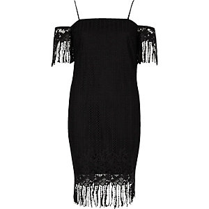 Black lace cold shoulder slip dress