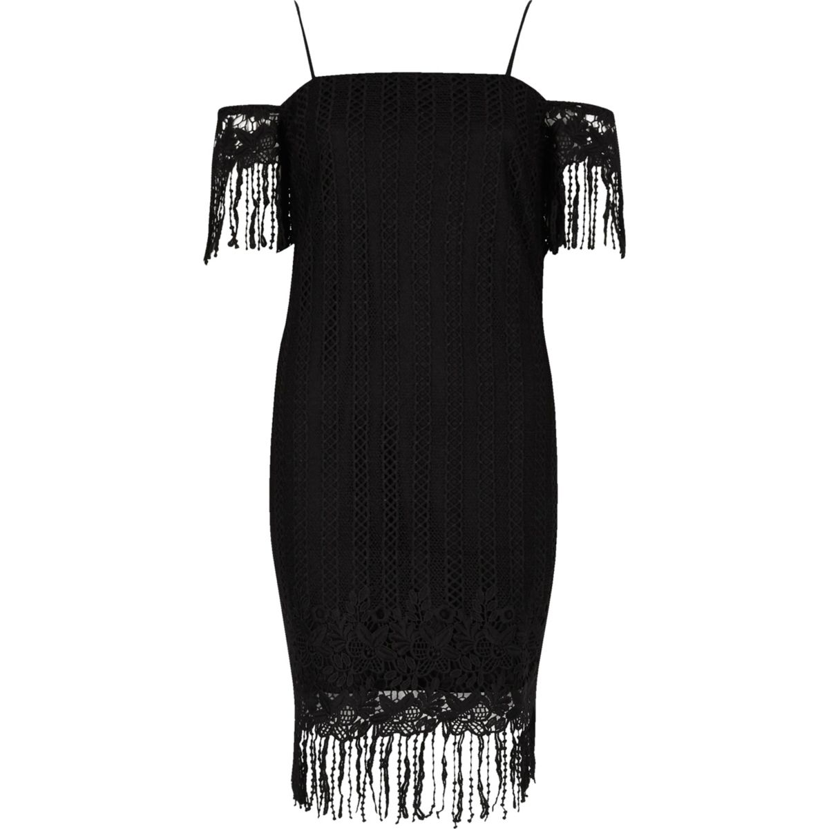 Black lace cold shoulder slip dress
