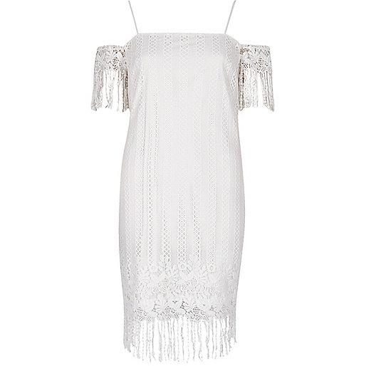 White lace cold shoulder slip dress