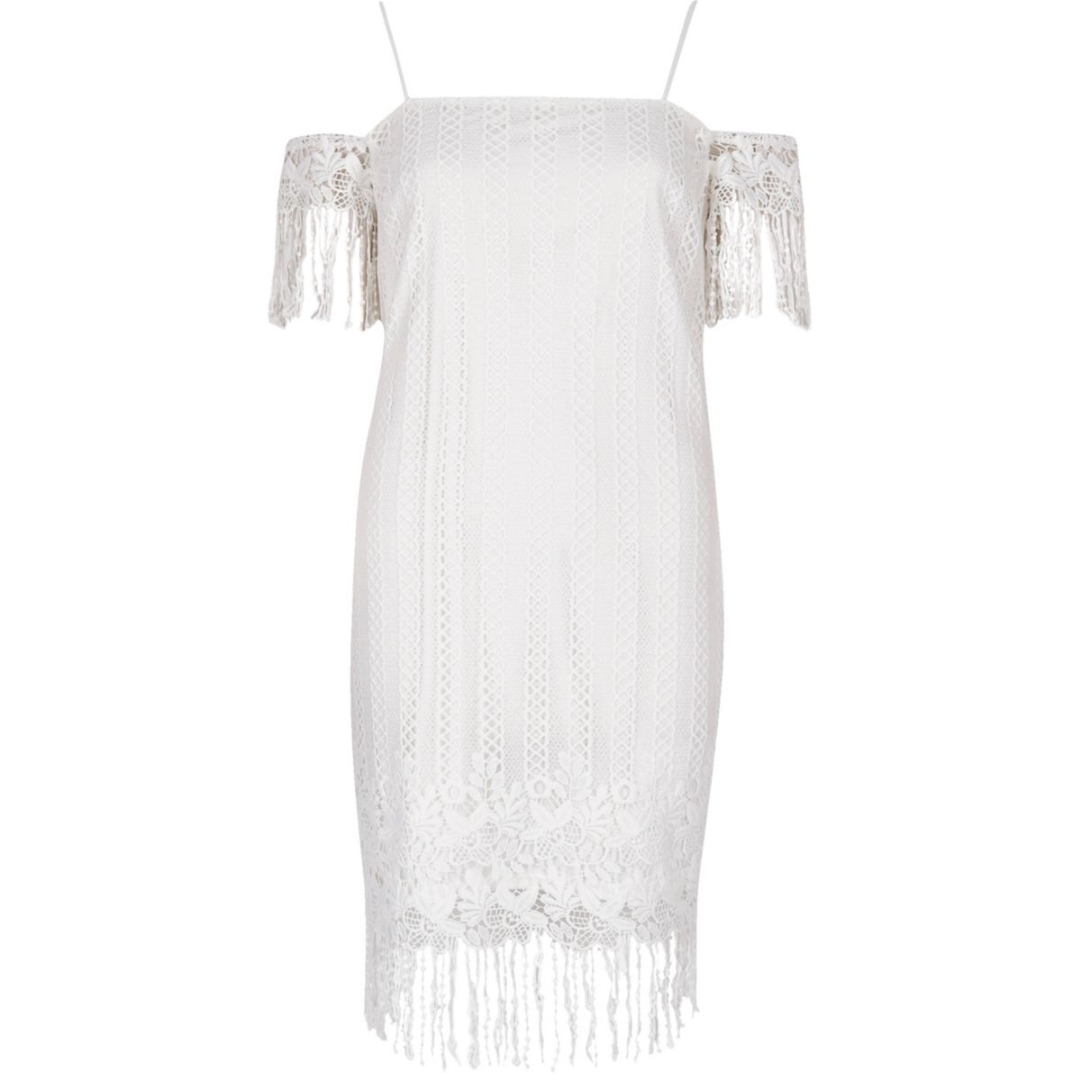White lace cold shoulder slip dress