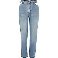 Mid authentic blue cut away boyfriend jeans
