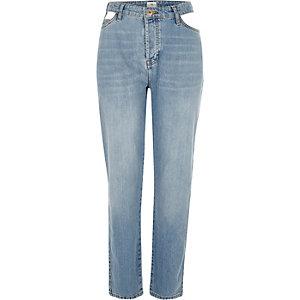 Authentieke middenblauwe boyfriend jeans met uitsnijdingen
