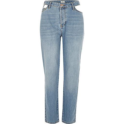 Mid authentic blue cut away boyfriend jeans