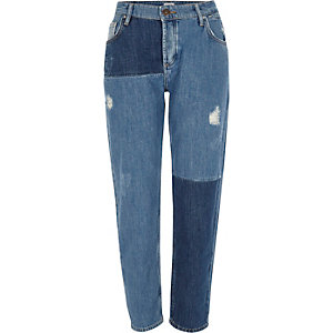 Mid blue reworked patchwork boyfriend jeans