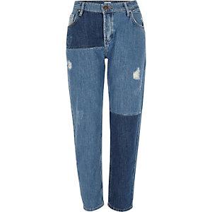 Middenblauwe vernieuwde boyfriend jeans met patchwork
