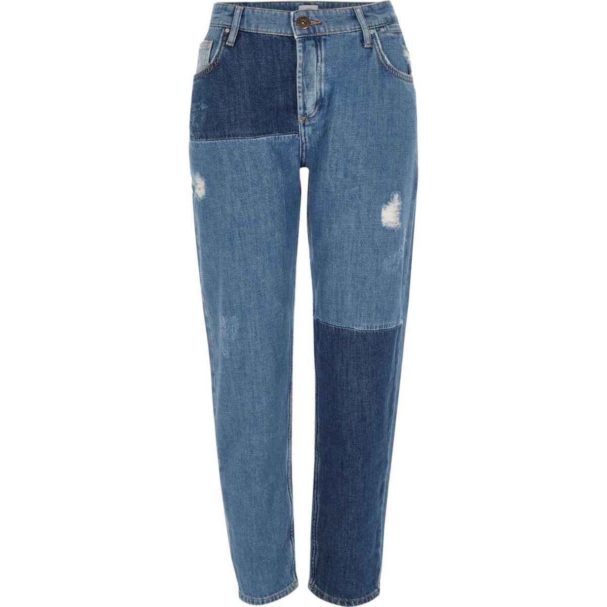 Mid blue reworked patchwork boyfriend jeans