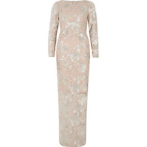 Pink floral sequin long sleeve maxi dress