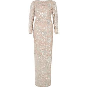 Roze gebloemde maxi-jurk met lange mouwen en lovertjes
