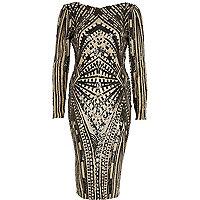 Black geo sequin embellished dress