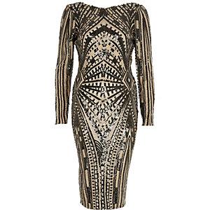 Black geo sequin embellished maxi dress