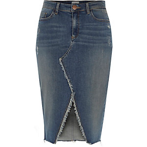 Mid blue frayed split denim pencil skirt
