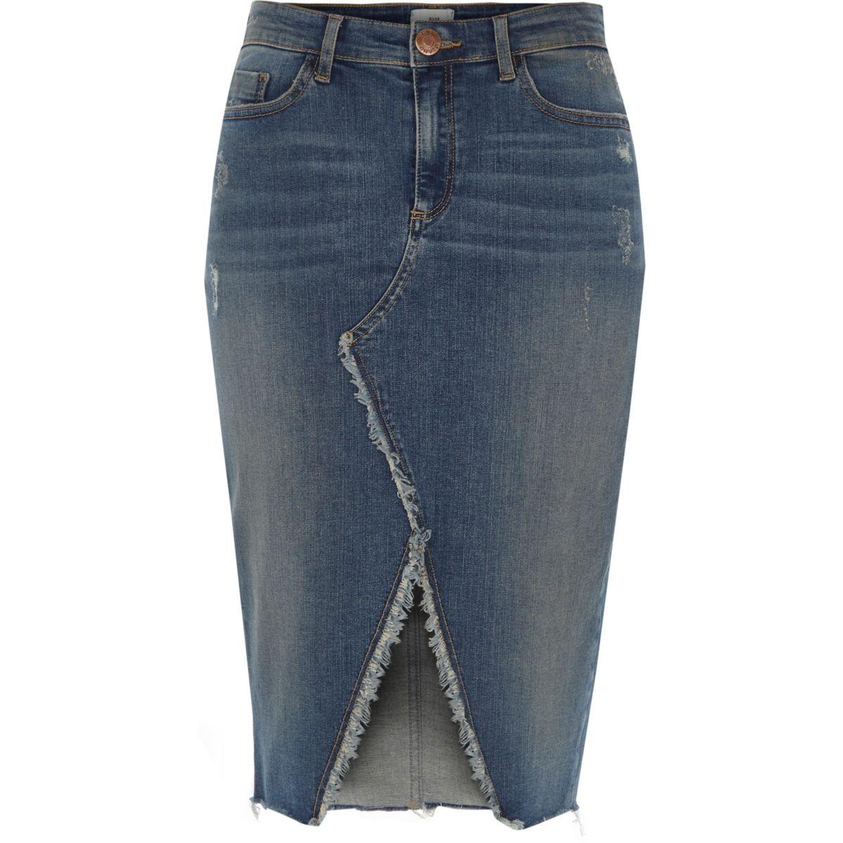 Mid blue frayed split denim pencil skirt