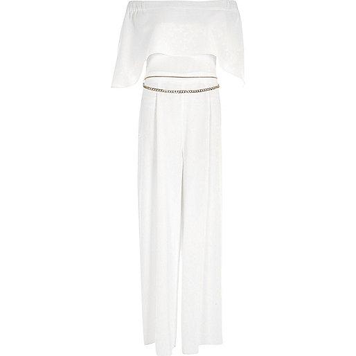 White bardot chain belt wide leg jumpsuit