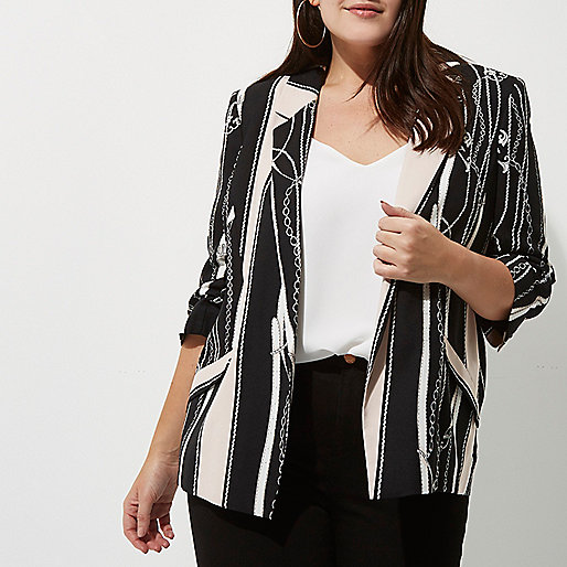 Plus black scarf print blazer