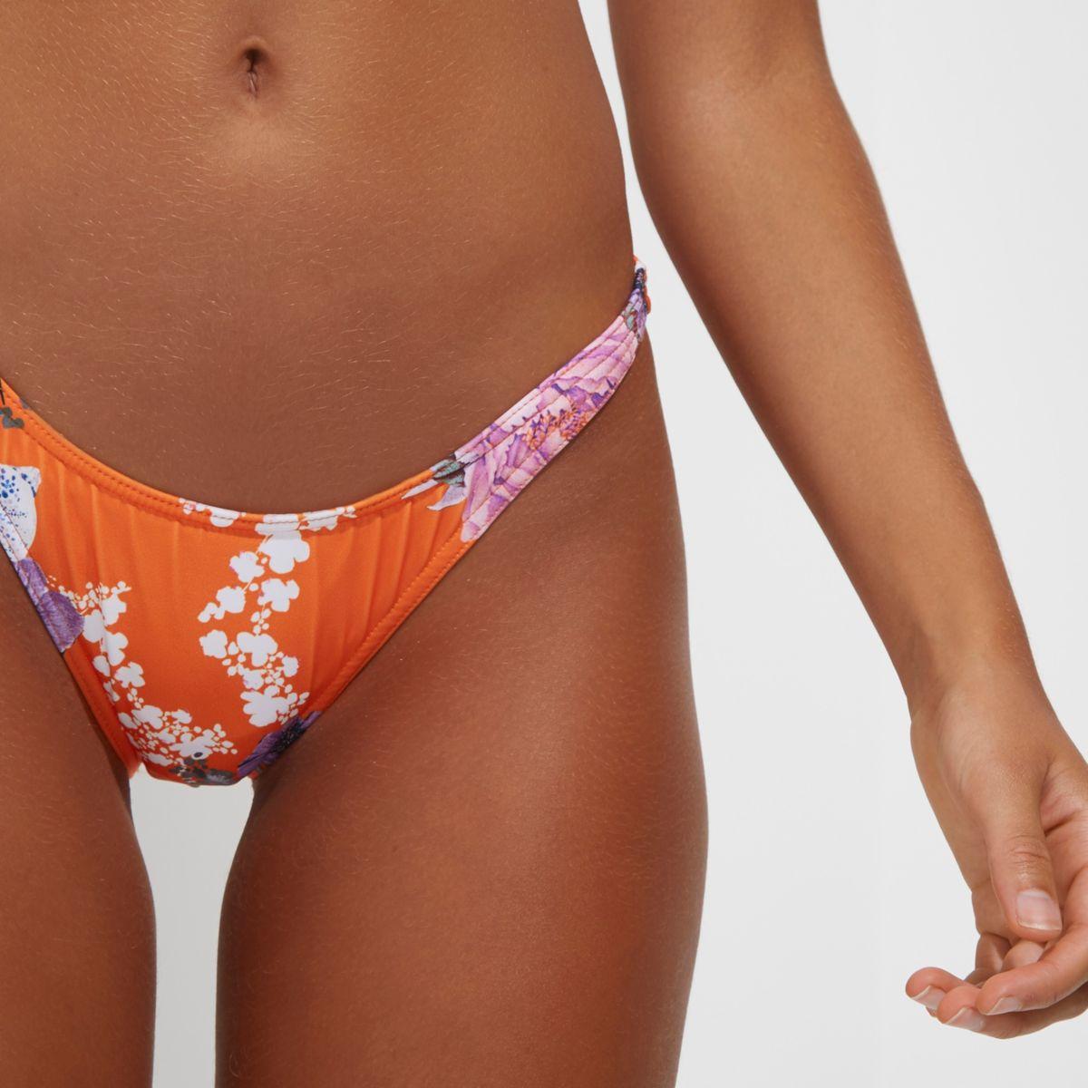 Orange floral print high leg bikini bottoms