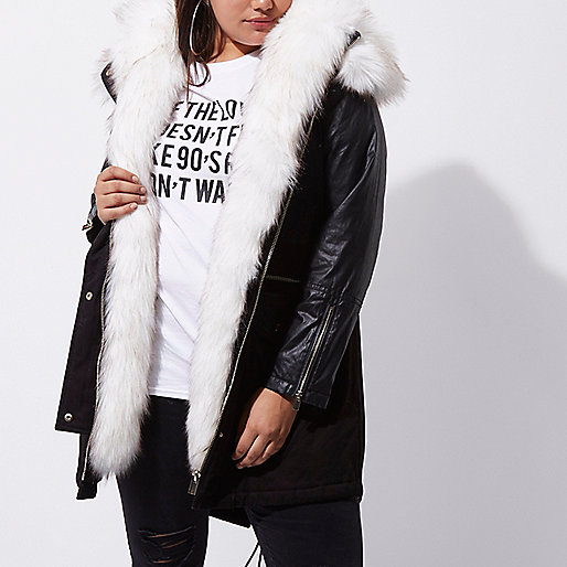 Plus black faux fur collar parka coat