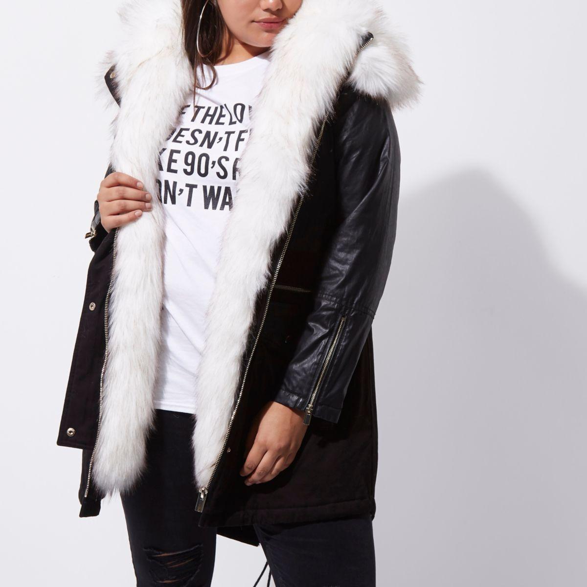 Plus black faux fur collar parka coat - Jackets - Coats & Jackets ...