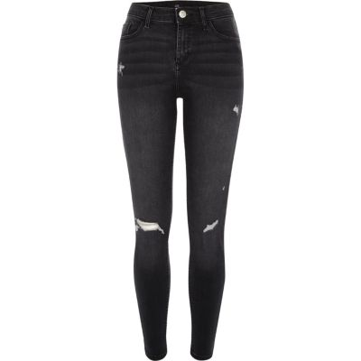 Amelie zwarte washed ripped superskinny jeans