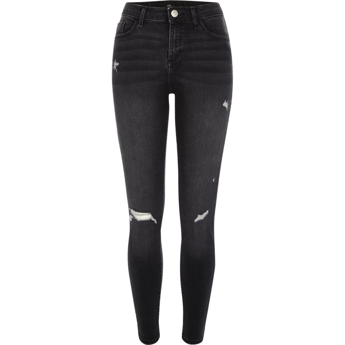 Black washed Amelie ripped super skinny jeans