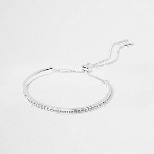Bracelet lasso argenté à strass