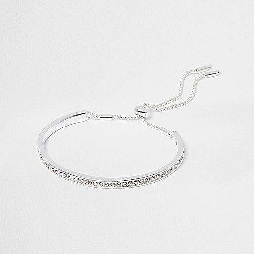 Silver tone diamante lariat bracelet