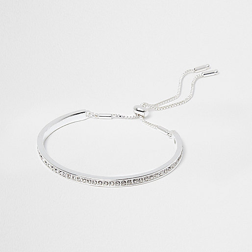 Silver tone rhinestone lariat bracelet