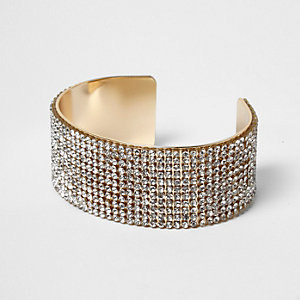 Gold diamante encrusted chunky cuff bracelet