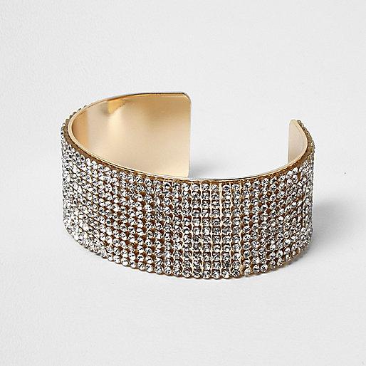 Gold diamante encrusted chunky cuff bracelet