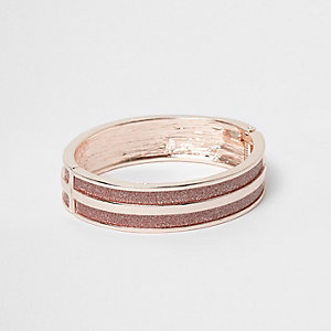 Rose gold tone glitter stripe cuff