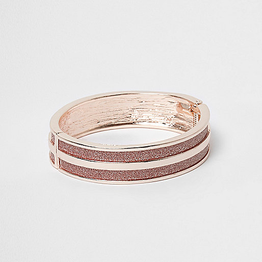 Rose gold tone glitter stripe cuff