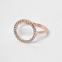 Rose gold tone diamante pave circle ring
