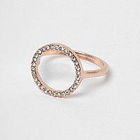 Rose gold tone rhinestone pave circle ring