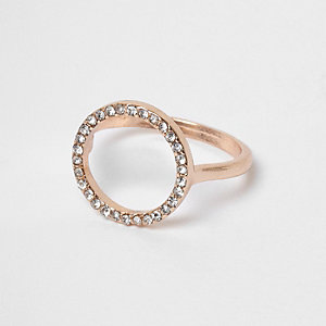 Rose gold tone diamante pave circle ring