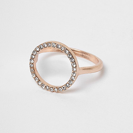 Rose gold tone rhinestone pave circle ring