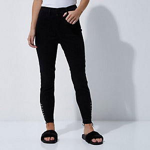 Petite black eyelet detail Molly jeggings