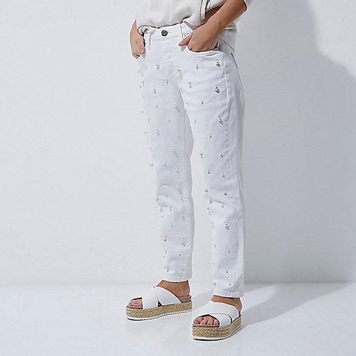 Petite white faux pearl boyfriend jeans